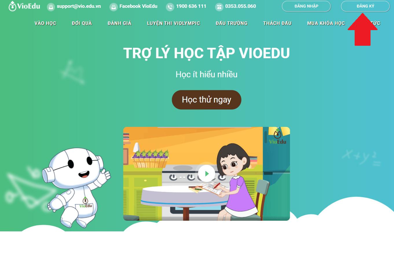 đăng ký tài khoản VioEdu