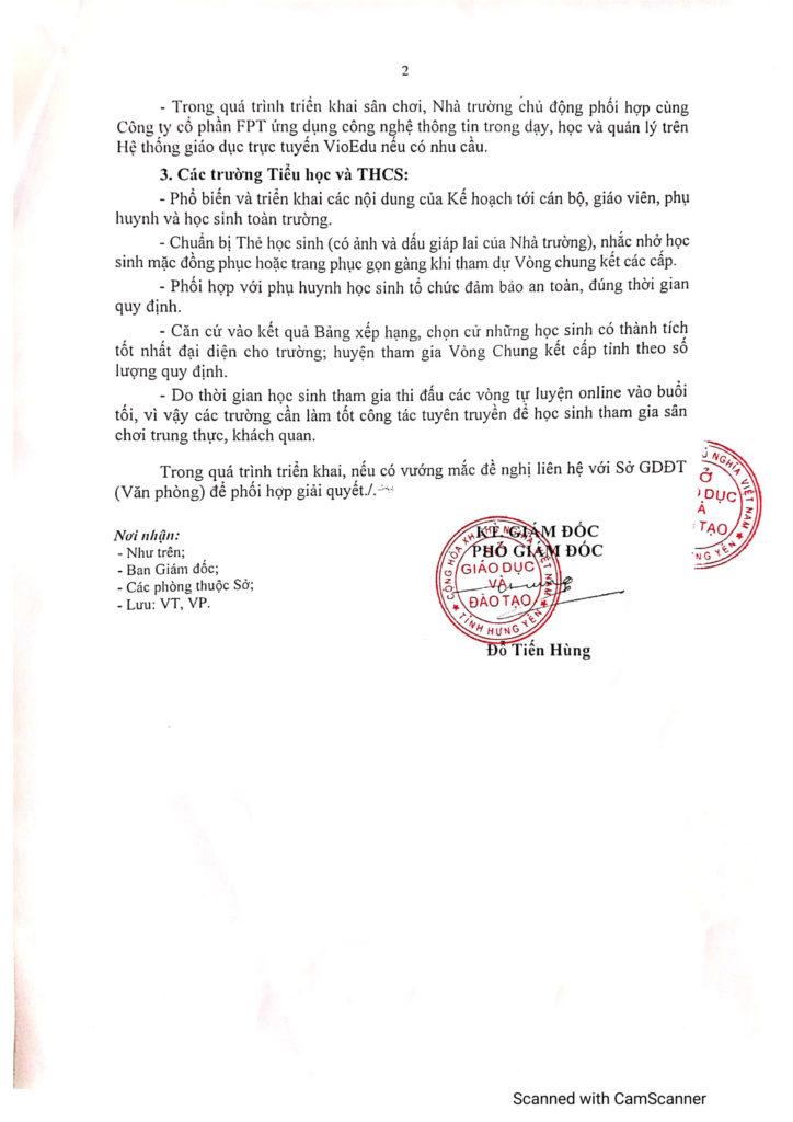 sở GD Hưng Yên ban hành công văn tham gia đấu trường toán học -2